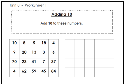 Easy addition worksheets up to 10